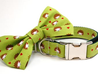 Handmade Dog Collar and Bow Tie Set - Hedge Hogs in Green - Custom Made Hedgehog Dog Collar with matching bowtie and hearts