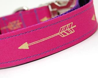 Handmade Dog Collar - Arrows Abound in Pink - Neon Pink Dog Collar Custom Made - With Golden Arrows - Modern Dog Collar