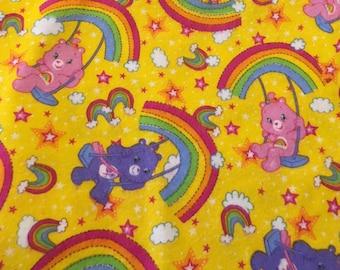 Care Bear Fabric Flannel Rainbow Pink Purple Yellow