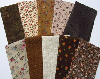 10 Assorted Browns Tans Cotton Fabric Scraps, 8x10, Calico Stash Builder, Destash, Quilting, Sewing Set 2