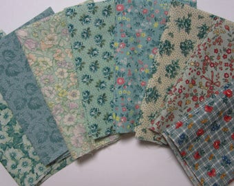 8 Assorted Softer Greens Cotton Fabric Scraps Fat Sixteenths, Calico Cotton Fabric Remnants, Quilting, Sewing
