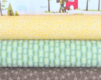 Puppy Park Cream 4 Fabric Fat Quarters Bundle by Bella Blvd. for Riley Blake, 1 yard total