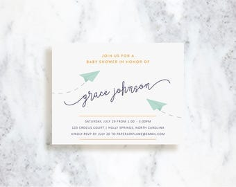 Paper Airplane Invitations | Birthday Party | Baby Shower | Choose Your Colors