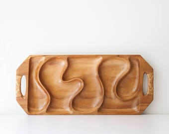 Vintage Hand Carved Mid Century Monkeypod Divided Tray - Philippines