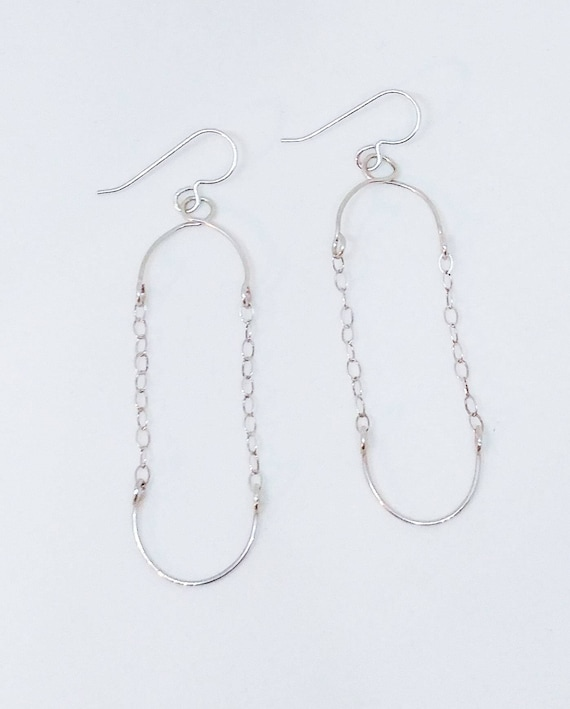Small Geometric Chain Sterling Silver Earrings