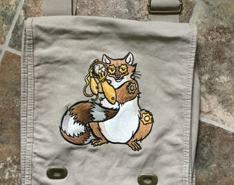 Steampunk Raccoon Canvas Messenger Bag