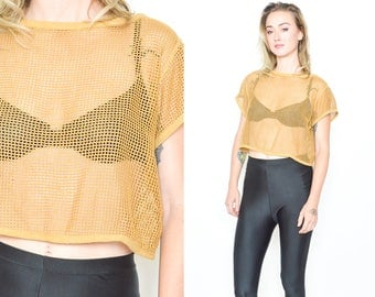 ESPIRIT MESH TOP. 90's Vintage  Fishnet Sheer Tee Shirt. Oversized Net Top. 90s Mod Punk Grunge Minimalist. Size Medium