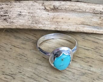 Turquoise Ring Natural Royston Mine Sterling Silver Size 6.75