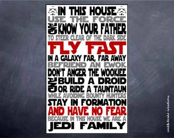 Jedi Family Star Wars In This House Quote Poster Digital Printable!