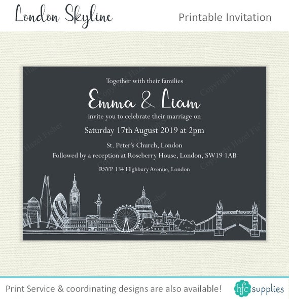 London skyline printable wedding invitation hand drawn city il570xn reheart Choice Image