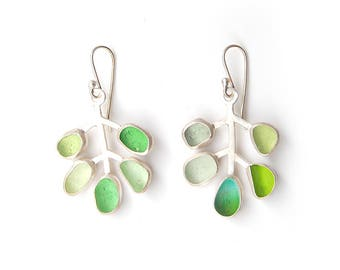 Spring Sea Glass Leaf Twig Earrings Shades of Green Sterling Silver Bezel Set