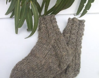 Pure Wool Socks - Hand Knitted  with a Cable Band using Handspun Pure Australian Wool in a Naturally Coloured   Medium Grey.