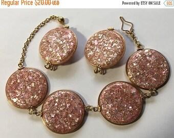 ON SALE Vintage Pink Confetti Demi Parure Bracelet Earrings