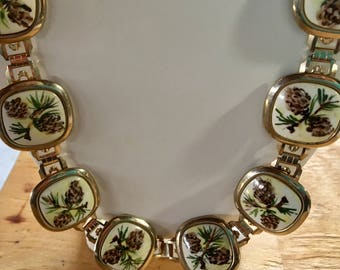 Vintage Pinecone Chain Belt Gold Tone