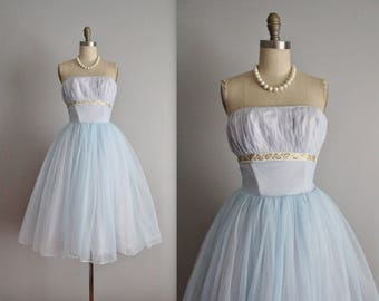 50's Prom Dress // Vintage 1950's Strapless Baby Blue Chiffon Garden Party Prom Wedding Dress S