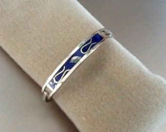 Inlaid Sterling silver bangle bracelet