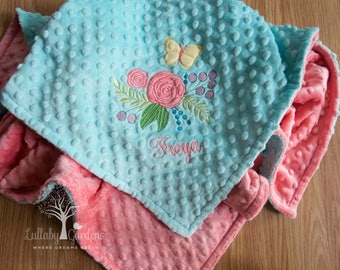 Shabby Chic Personalized Minky Baby Blanket, Floral Appliqued Blanket, Shabby Chic Minky Blanket, Personalized Baby Gift, Baby Girl Blanket