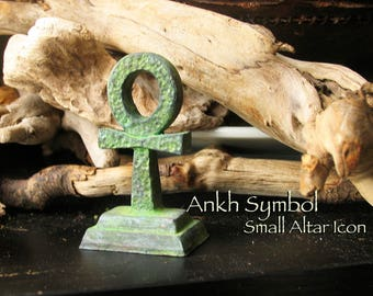Small Ankh Altar Icon - Upright Three Dimensional Ankh -  Symbol for Life - Handcrafted Polymer Clay Statue with Full Aged Patina Finish