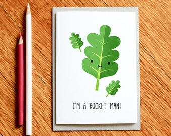 Food Pun, Funny Card, I'm a rocket man! Father's Day Card, Funny Husband Card, Funny Boyfriend Card, Funny Xmas Card, Funny Birthday Card