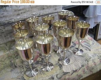 Antique Silver Plated Goblets Portugal 12 Cups 1 Dozen Wedding Decor