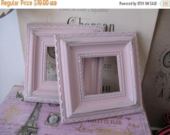 Vintage Pink Square Frames - Upcycled Handpainted Nordic French Cottage Chic Decor