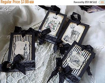 4 French Inspired Hang Tags Cottage Chic Gift Tag Black Beige Ribbons Flowers