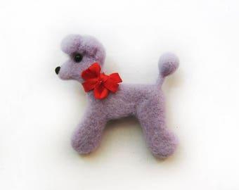 """A felt brooch """"Purple poodle"""""""