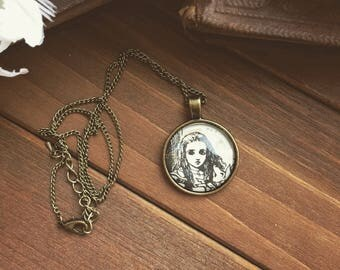 ALICE - alice in wonderland necklace - repurposed book page - brass - old book paper - alice portrait - book lover gift - gift for her  OOAK