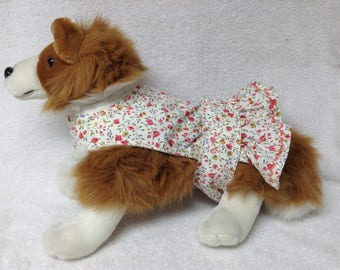 Female Dog Diaper Dress One Piece Pet Wrap Romper Bodysuit Overall Britches Doggie Pants Size xSmall To Large Floral Print