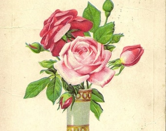 Pink and Red Roses in Elegant Vase Vintage Stecher Litho Postcard – All Kind Thoughts Elegant and Romantic Image 1922