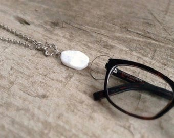 CLEARANCE, White Jade Necklace, Eyeglass Loop, Eyeglass Holder, Glasses Necklace, Quatrefoil Necklace, Glasses Hanger, Bohemian Jewelry