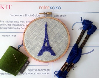 "Embroidery KIT by mlmxoxo.  modern hand embroidery kit. Eiffel Tower. embroidery pattern. DIY needlework kit. French decor. 4"" hoop art kit."