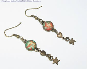 Iridescent, red and green cabochon earrings, hearts, antique