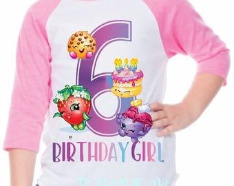 Shopkins Birthday Girl Shirt, Custom Age Birthday Shirts, Toddler Youth Girl Shopkins Shirt, Personalized Birthday Shirts for Girls