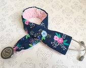 Padded Stethoscope Cover, Nurse, Doctor, Veterinarian, EMT, Nursing Student, Medical Assistant - Navy Floral with Baby Pink