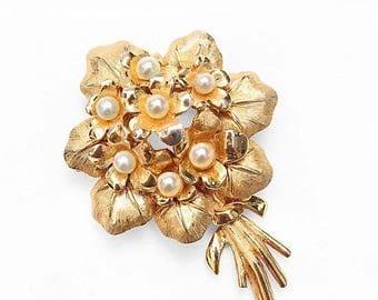20% OFF SALE - Vintage BOUCHER Faux Pearl Violets Brooch