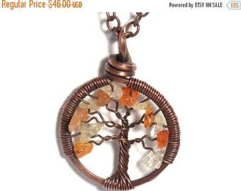 20% OFF Vacation SALE The Mini Autumn Tree of Life Antiqued Copper Necklace in Citrine and Carnelian Stone.