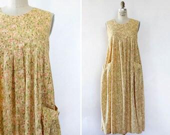 Laura Ashley Dress S/M • Vintage Cotton Dress • Yellow Floral Dress • Cotton Floral Dress • Laura Ashley Vintage Dress | D1450