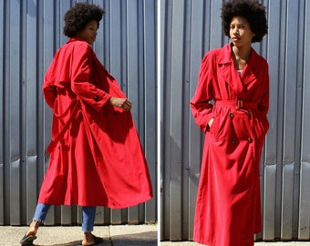 Red Trench S/M • Vintage Trench Coat • 90s Jacket • Talbots Coat • Carmen Sandiego Trench • Red Raincoat • Rain Jacket Vintage | O446