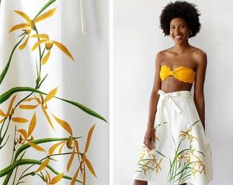 70s Wrap Skirt M • Meadow Print Wrap Skirt Cotton • Cotton Wrap Skirt • 70s Skirt • Vintage A Line Skirt • Vintage Wrap Skirt | SK909