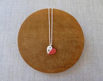 Love Heart 2 Tone Porcelain Necklace