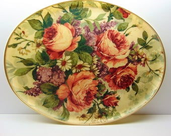 Vintage Oval Serving Tray, Large Fiberglass Floral Tray