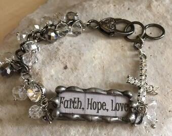 Faith, Hope, Love-word bar bracelet-word charms-beaded bracelet-cross-cross charm-hand made-cross bracelet