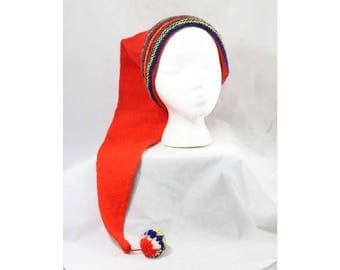 1950s Winter Hat - Red Wool Knit Long Stocking Cap - Alpine Nightcap with Tartan Color Stripes & Pom Pom Tail - Made in Scotland - 49154