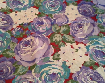 Purple and Blue Roses Floral Print Cotton Fabric 2 Yards X1163