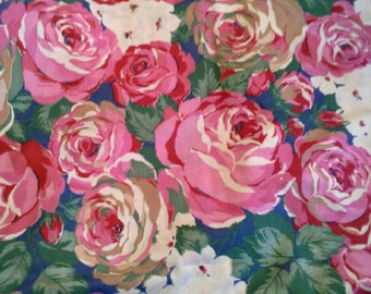 Pink Roses Floral Print Cotton Fabric 2 Yards X1166