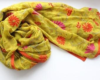 Indian vintage hand embroidered georgette dupatta. Kantha scarf, shawl. SCM005