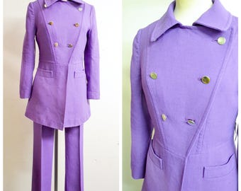 1960s 70s Purple double breasted trouser suit / 60s mod military jacket & pants - S xs