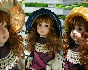 Three Antique Doll Bonnets