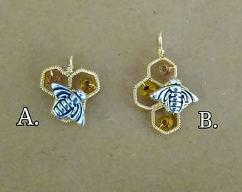 Gold Filled Wire Wrapped Honeycomb Pendant